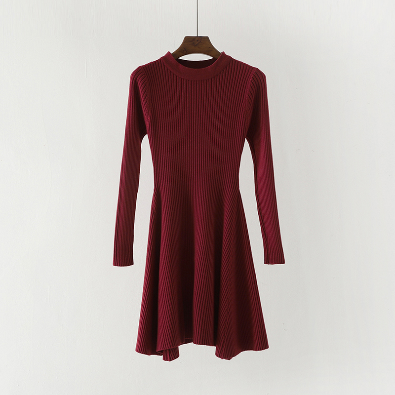 Women Long Sleeve Sweater Dress Women's Irregular Hem Casual Autumn Winter Dress Women O-neck A Line Short Mini Knitted Dresses 10