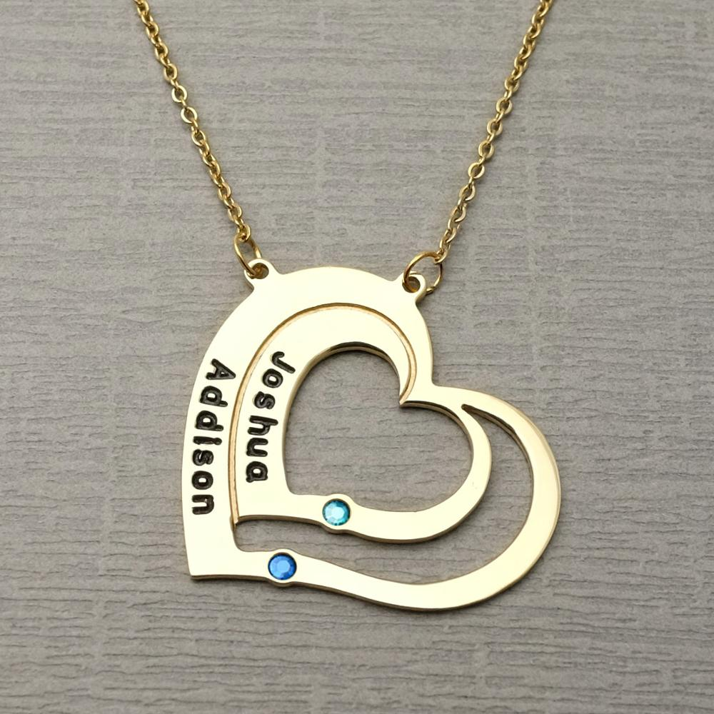 Engraved Footprint Necklace with Birthstone Personalized Name Necklace Custom for Lover Friend gift