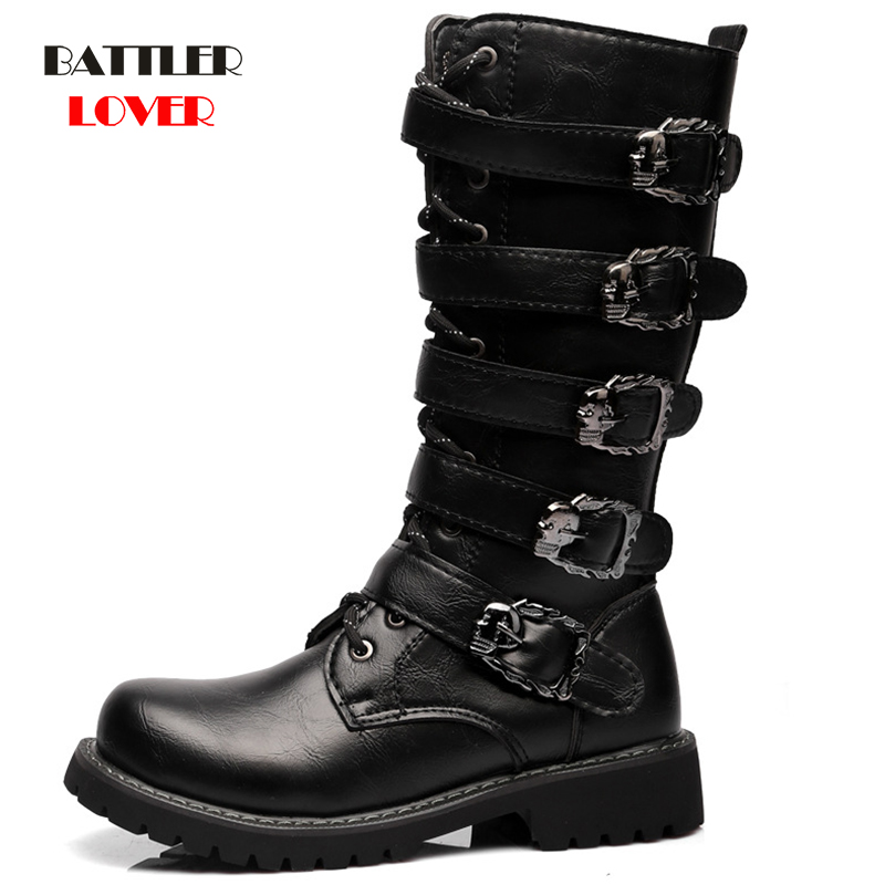 Knee High Men Boots Plus Size 37-46 Leather Equestrian Men Motocycle Boots Punk Skulls Bandage Shoes Men
