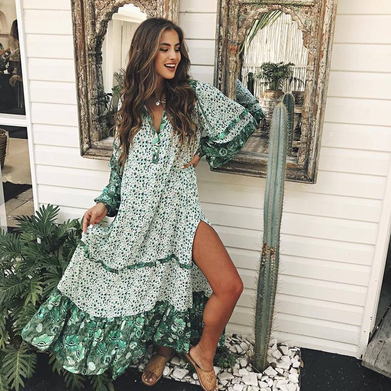 Beach Cover Ups Tunic Cape On Swimsuit Women Swimwear Robe Coverup Stock Long Sleeve Dress Bohemia Green Skirt Polyester