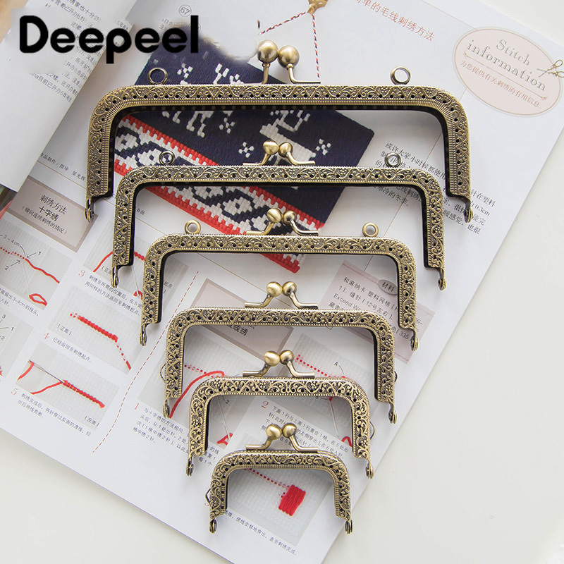 Deepeel 5pcs/lot 8.5-18.5cmHigh Quality Bronze Square Mouth Gold Embossed Metal Purse title=