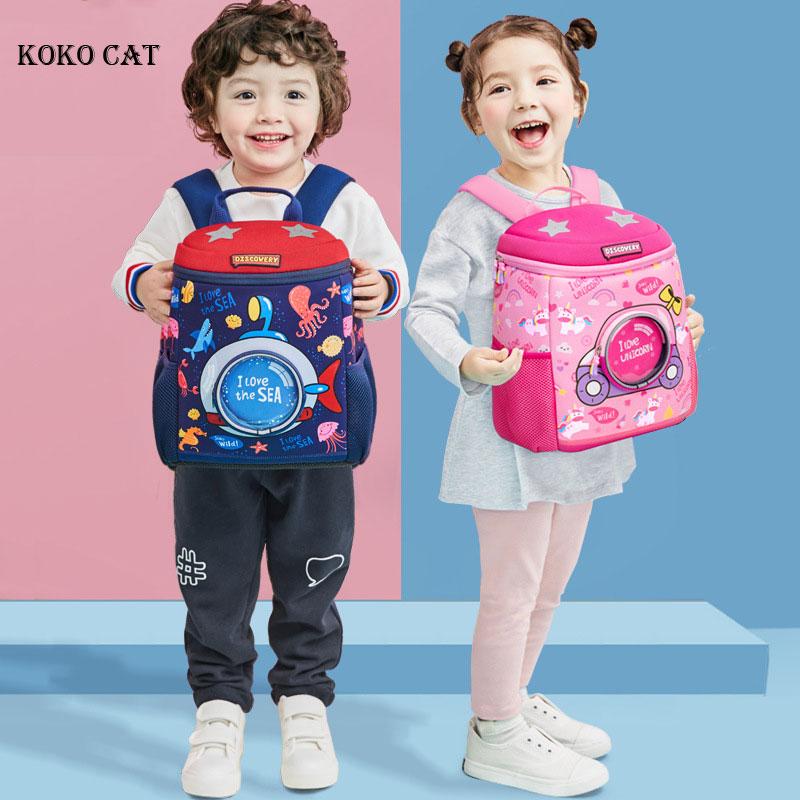 KOKO CAT Kids Dinosaur Backpack Cute 3D Cartoon Unicorn School Bags Kindergarten Orthopedic Bookbag Toddler Bag Mochila Infantil
