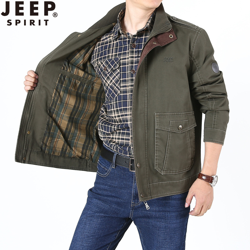 JEEP SPIRIT Military Jacket Men Spring Cotton Bomber Jacket Stand Collar Windbreaker Autumn Coat Men With Pockets Dad Jacket
