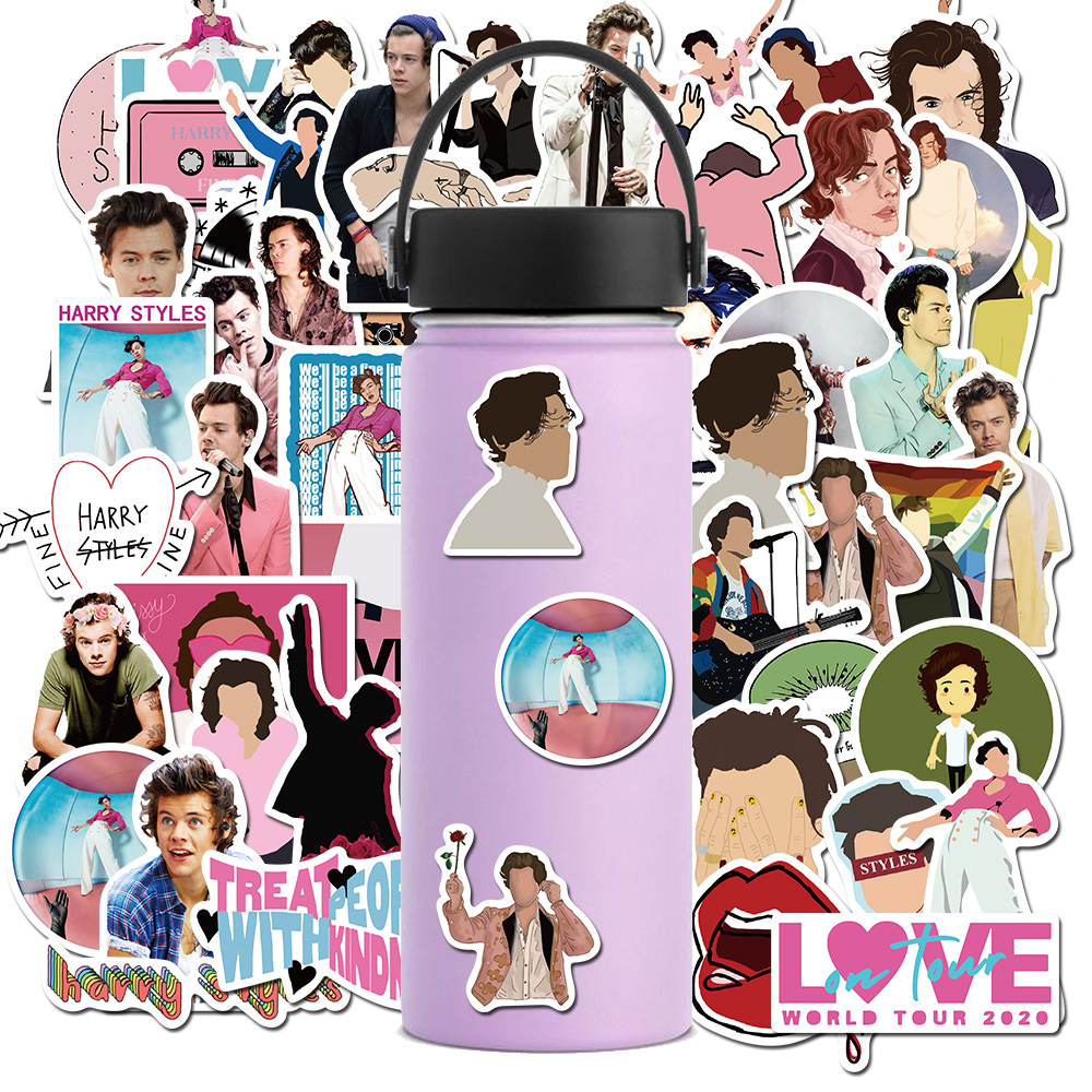 50Pcs/ Famous British singer Harry Styles Stickers For Laptop Luggage  Bicycle Phone Case Skateboard Pad Waterproof Kids Decal