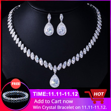 Cwwzircons Earrings Bridal-Jewelry-Sets Wedding-Necklace Bridesmaids High-Quality Luxury