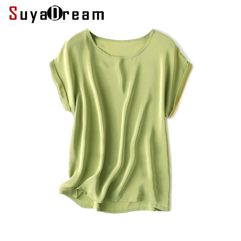 SuyaDream Summer Silk Shirt 100%Real Silk Bat Sleeved Solid Candy Colors O neck T shirt 2020 New Summer Top