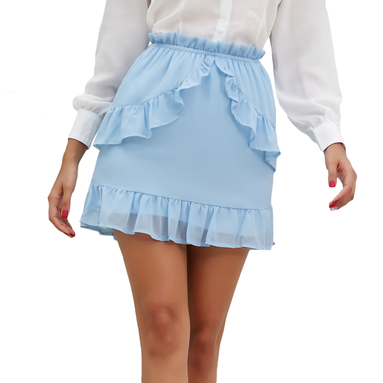 European and American women/'s high waisted ladies/' ruffles A-line skirt short skirt