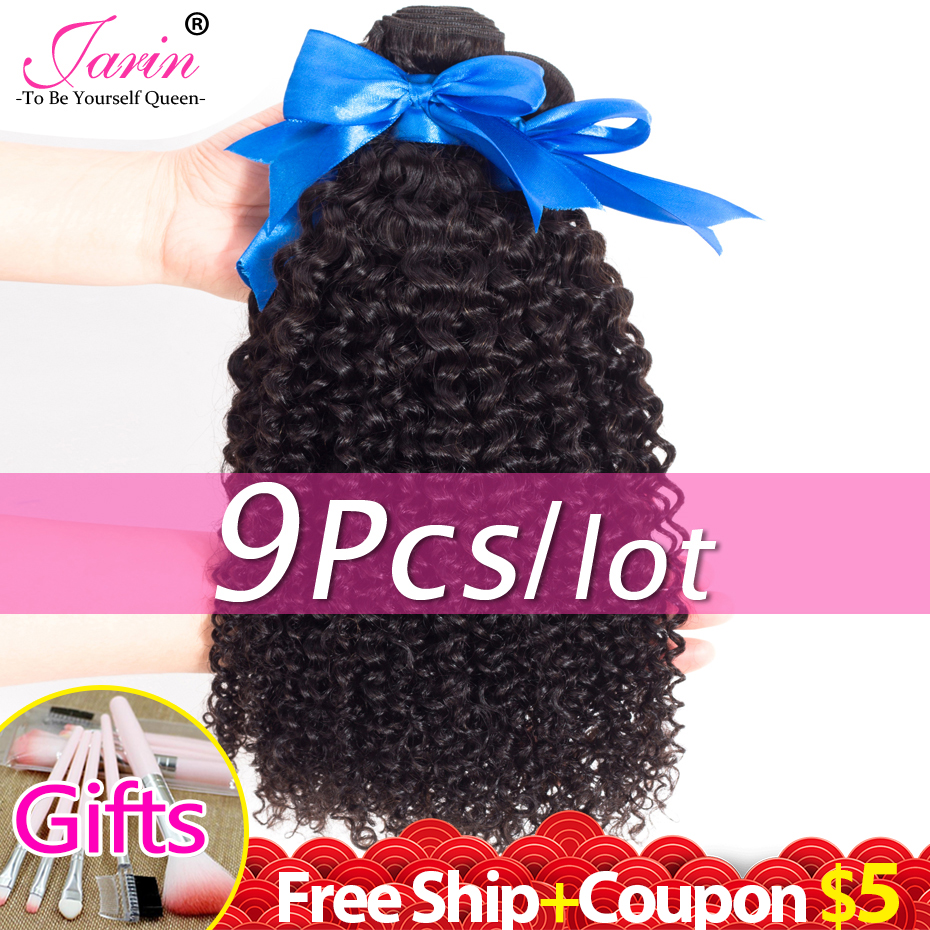 Hair Curly Brazilian-Hair Natural-Color Bulk-Sale 9-Bundles 30-32inch Remy Kinky Jarin title=