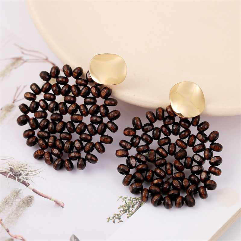 19 Fashion Boho Round Square Geometric Wooden Drop Earrings For Women Bohemian Vintage Wood Beaded Dangle Earring Jewelry Gift 7
