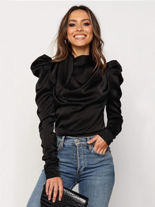 Satin Blouses Shirts Bow-Neck Long-Sleeve Female Office Lady Women Blusas S-XL
