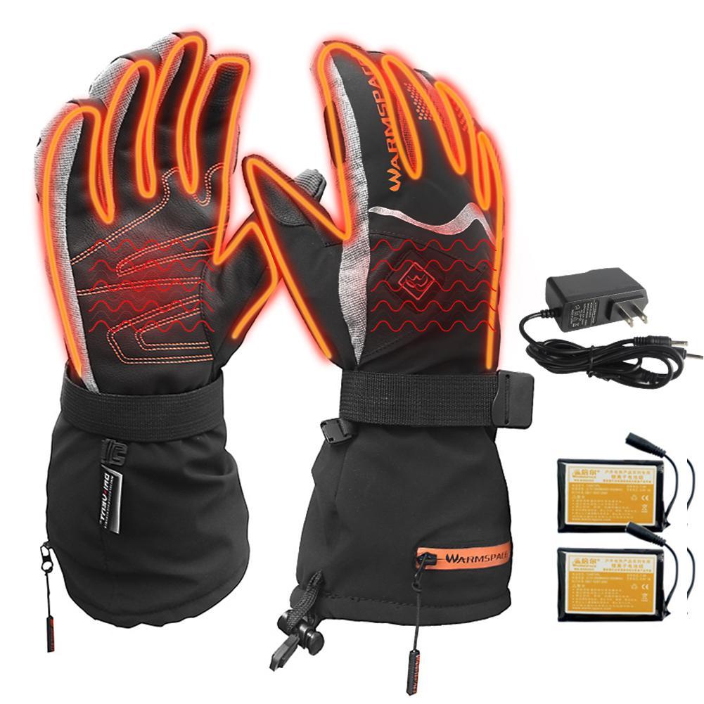 Лыжные перчатки с подогревом, водонепроницаемые, с сенсорным экраном, для мужчин и женщин, на батарейках, зимние теплые перчатки, для спорта на открытом воздухе, сноуборда, снегохода, катания на лыжах