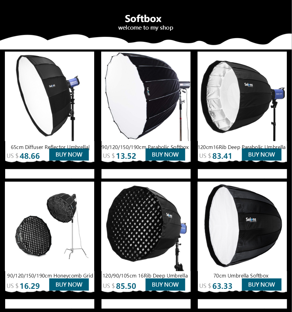 "Selens 190cm 75/"" Hexadecagon Parabolic Softbox /& Honeycomb Grid for Bowens Flash"