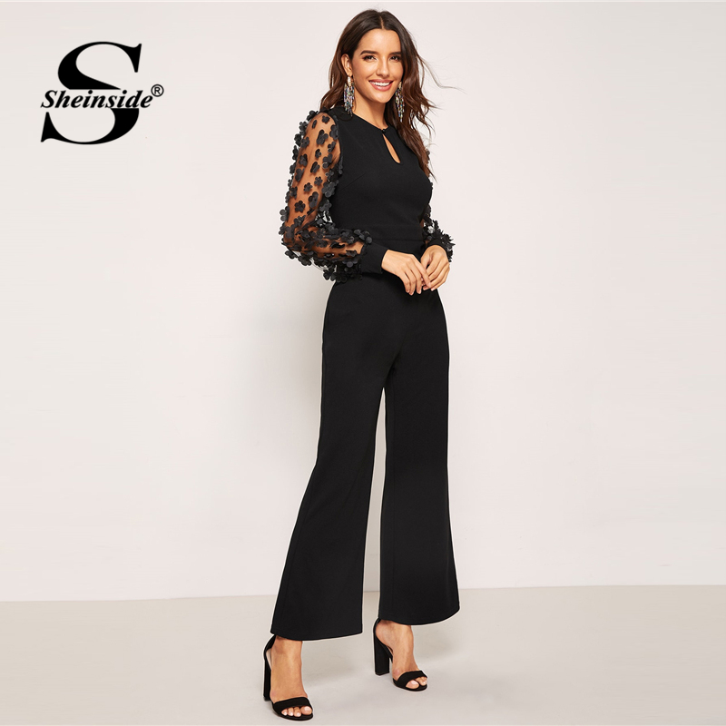Elegant Long Sleeve Black Jumpsuit 3D Applique Sheer Sleeve Keyhole Front Sexy Jumpsuits For Women 2018 Long Jumpsuit