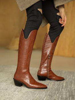 Brown Top Cow Leather Women Riding Boots British Long Knee High Bottes Side Zipper White Cowboy Autumn Botines Femmes Chaussure