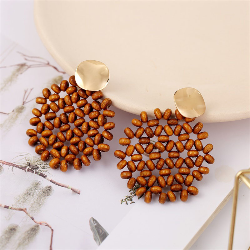 19 Fashion Boho Round Square Geometric Wooden Drop Earrings For Women Bohemian Vintage Wood Beaded Dangle Earring Jewelry Gift 8