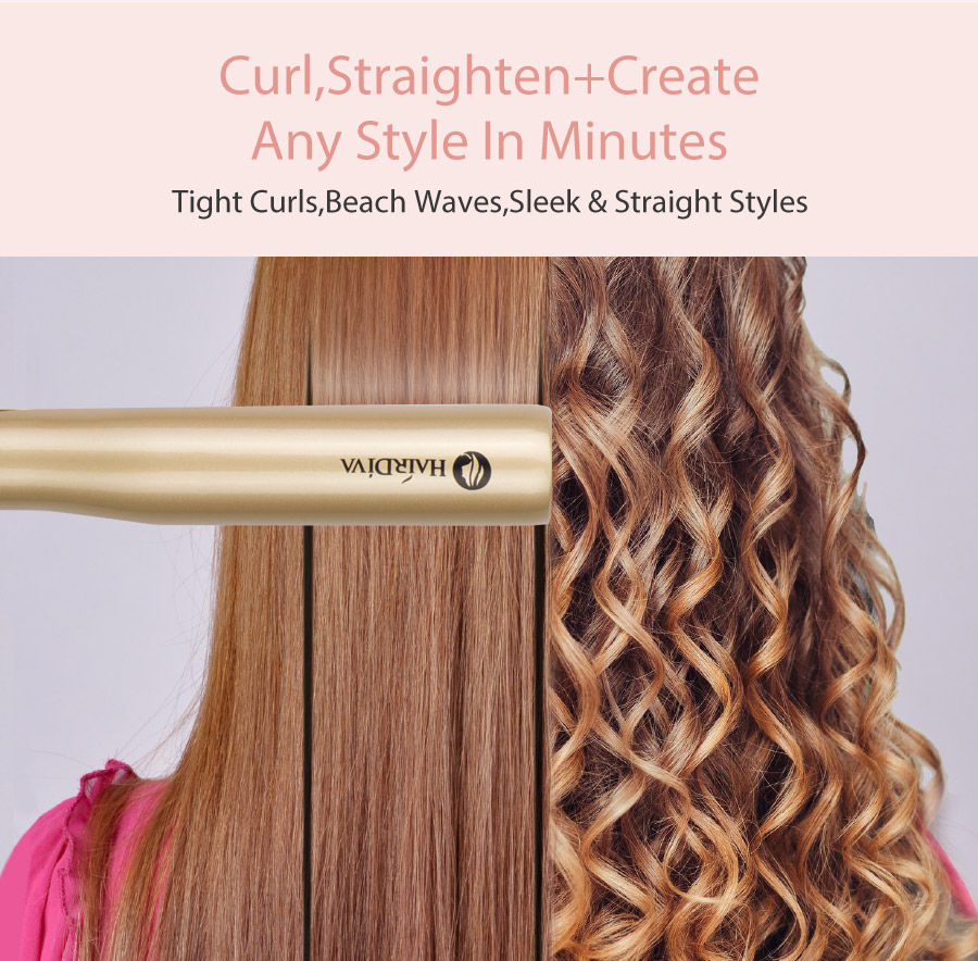 Twisted 2 in 1 curling straightener iron