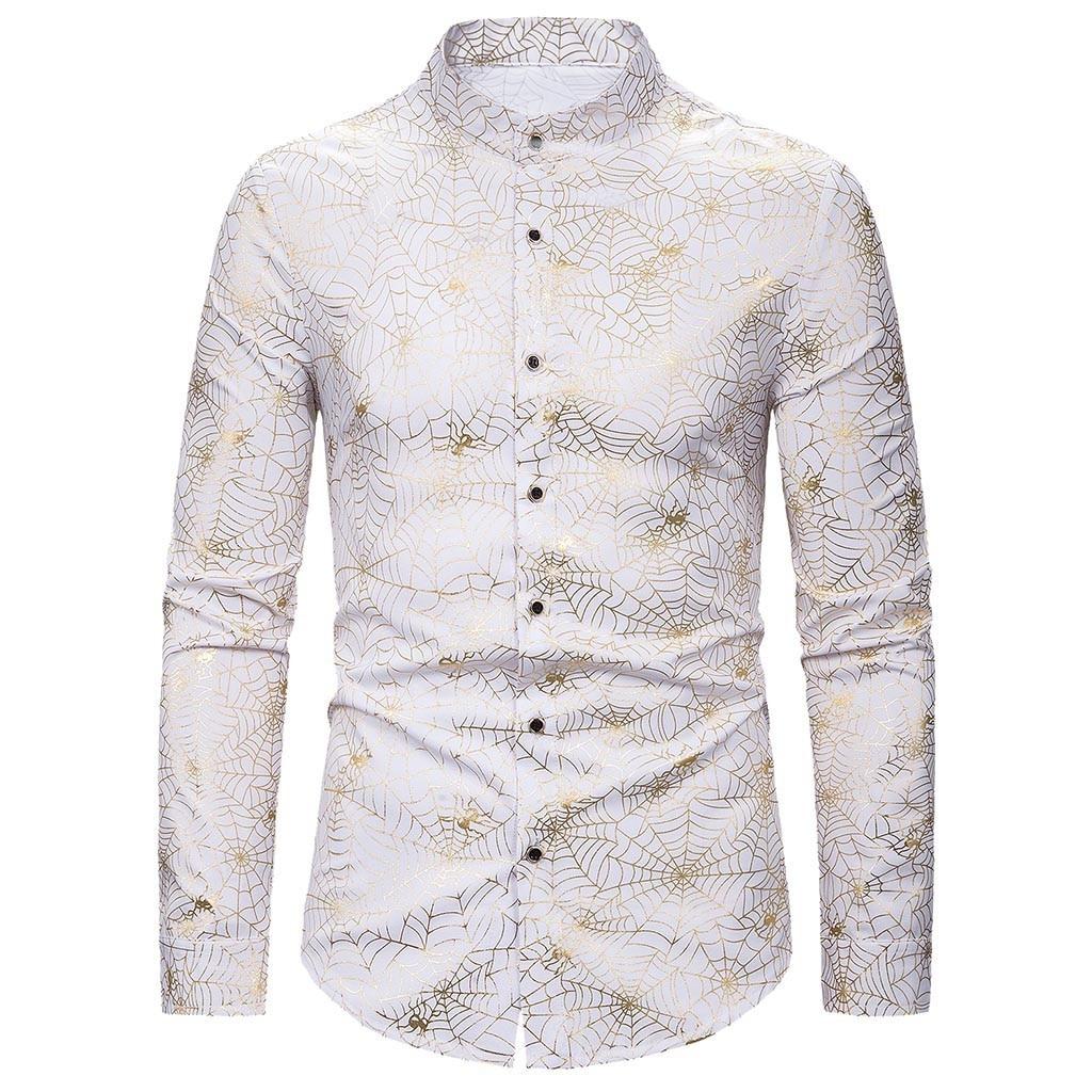 Casual Men/'s Shirt camisa Korea Autumn Printing Long Sleeve Loose Slim Shirt Button Up Shirts Men Business Top camisa masculina