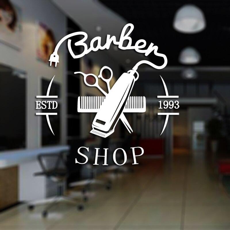 Man Barber Shop Sticker ESTD Chop Bread Decal Haircut Hair Clipper Shavers Poster Vinyl Wall Art Decals Decor Windows Decoration