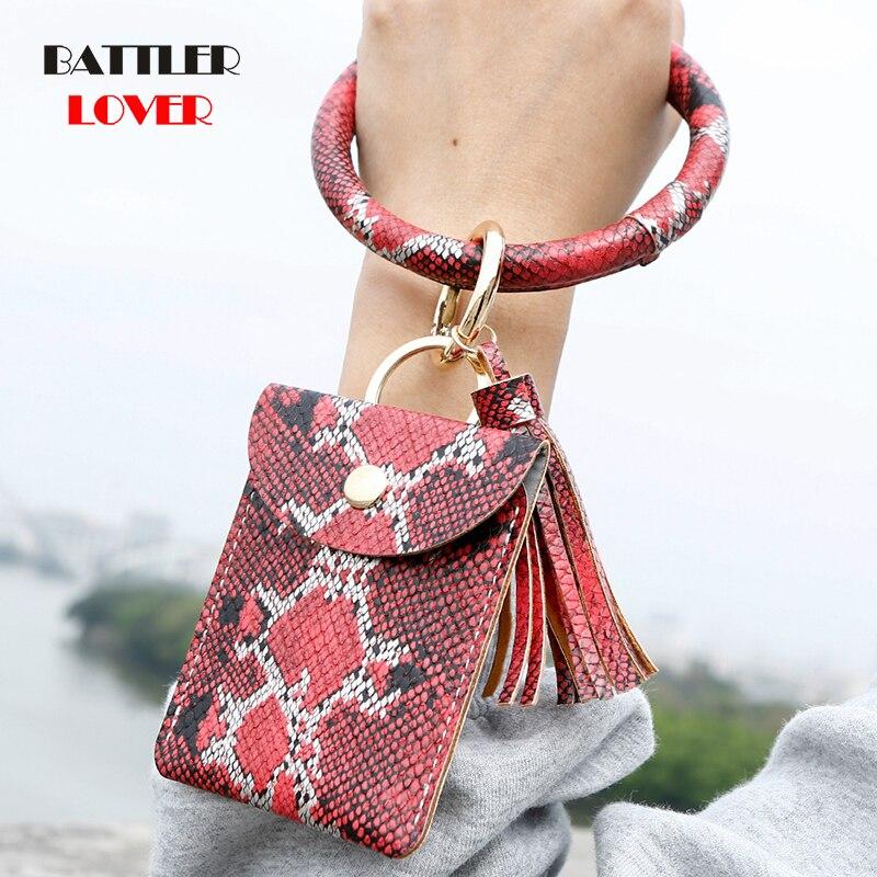 2020 New Hot Sell Keychain Card Bag Snake Wallet PU Leather Tassel Kabaw Fashion Bracelet Keychain Jewelry for Women Men Leopard