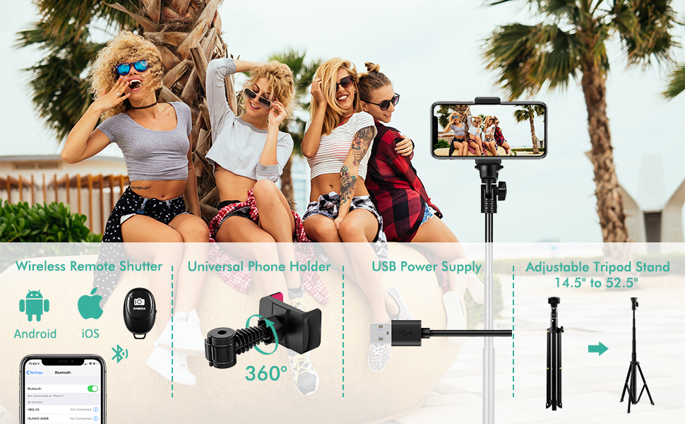 camera led ring light with iphone holder and tripod stand