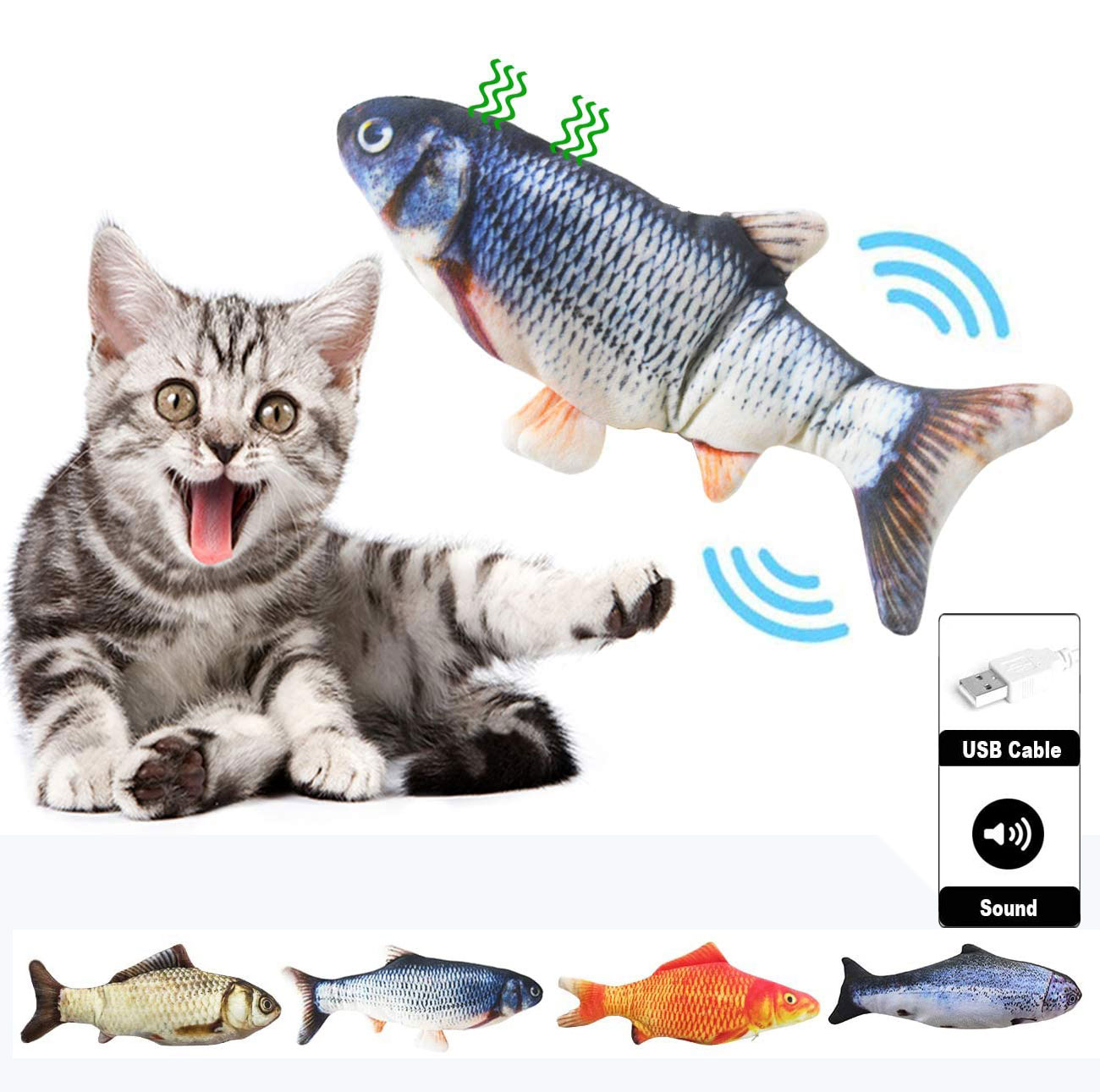 Electronic Cat Toy Electric USB Charging Simulation Fish Toys for Dog Cat Chewing Playing Biting Supplies Dropshiping