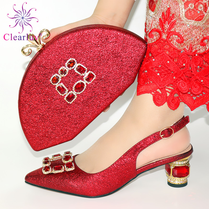 Italian Shoes with Matching Bag Set Decorated with Appliques African Shoes and Bags Matching Set Elegant Italian Women Pumps