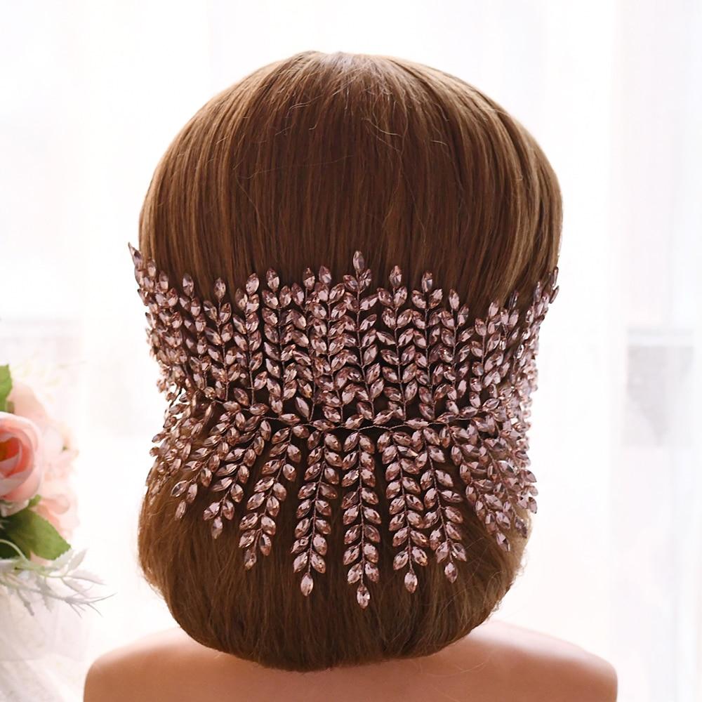BUFEI HP238-p skin pink  jewelled headpieces stunning bridal hair jewelry  headband fancy wedding bridal headpieces bridal tiara