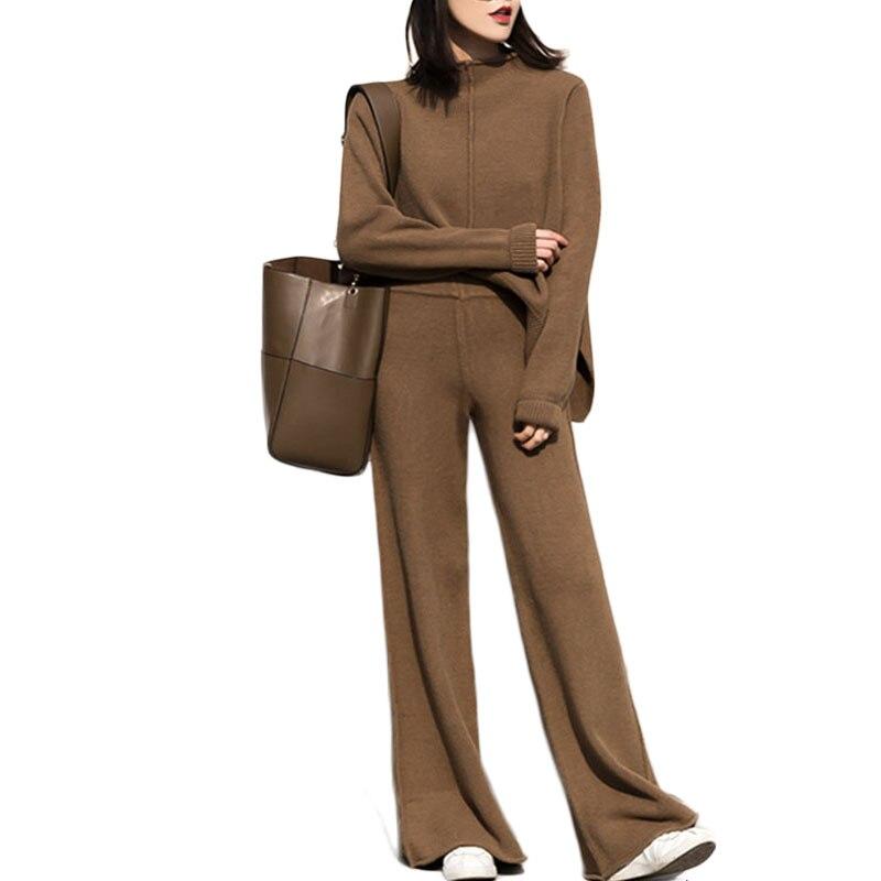 Женский трикотажный спортивный костюм genayua, комплект из двух предметов: топ с длинными рукавами и штаны, верхняя одежда в Корейском стиле, зимний костюм из 2 предметов