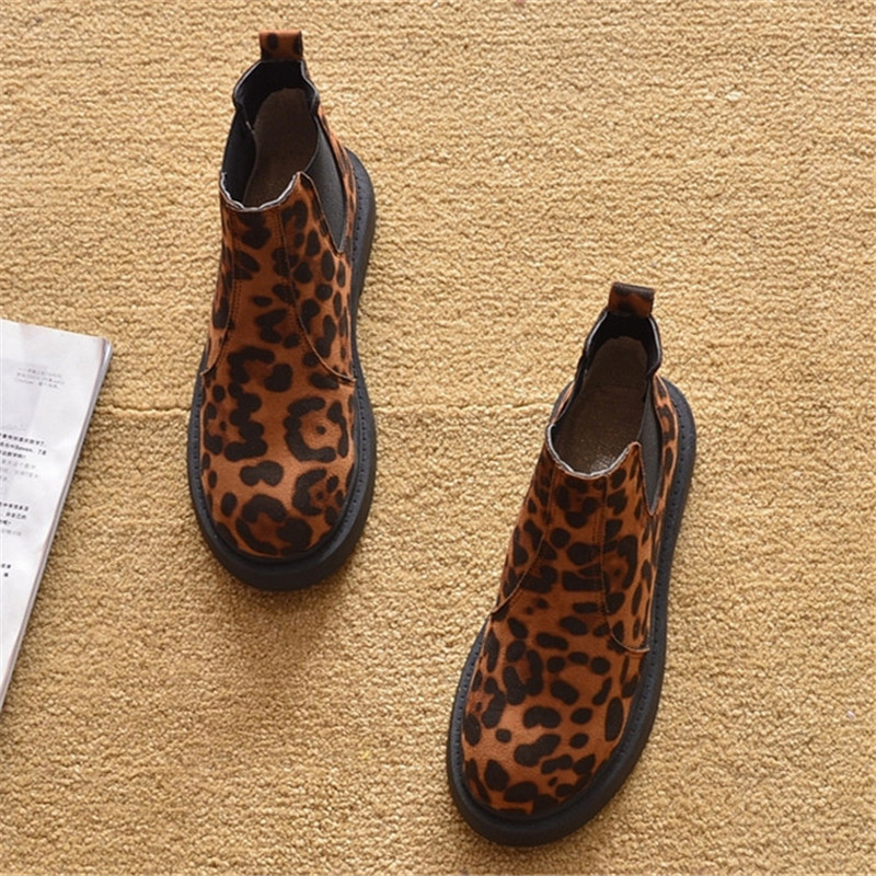 2020 New Spring Autumn Flat with Short Ankle Boots For Woman Leopard Prints  Lace Up Female Ankle Western Boots Platform Shoes  (8)