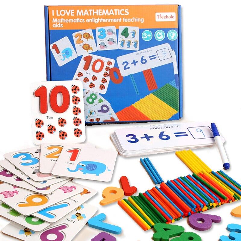 Монтессори игрушки для детей Математика Дети раннего образования игрушки подсчета деревянный стикер Дети номер познания подарок на день рождения