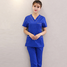 Scrubs-Set Nursing-Uniforms Pants Short-Sleeves V-Neck Fashion Women 100%Pure-Cotton