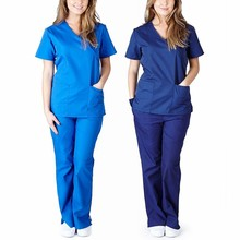 Suit Scrub-Uniform Workwear Nursing Women Pants Overalls Short-Sleeve V-Neck Set Tops