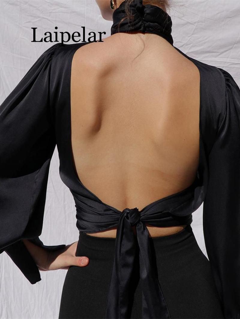 2019 Autumn Women Elegant Fashion Basic Shirt Female Casual Party Sexy Blouse Keyhole Backless Long Lantern Sleeve Top