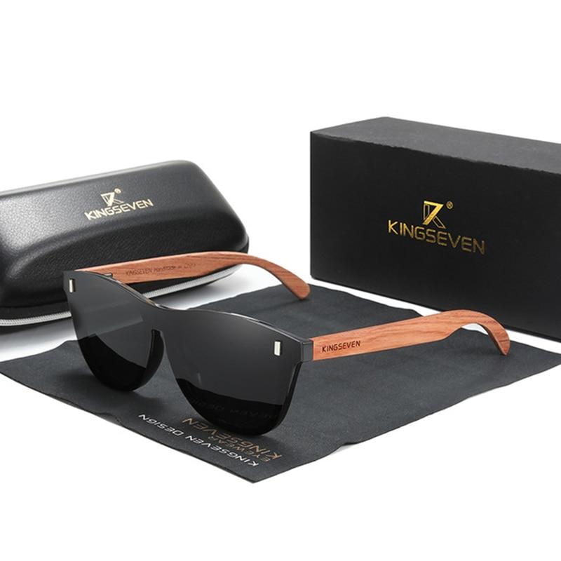 Солнцезащитные очки KINGSEVEN из натурального дерева Bubinga, поляризованные солнцезащитные очки для мужчин и женщин, оригинальные деревянные очки