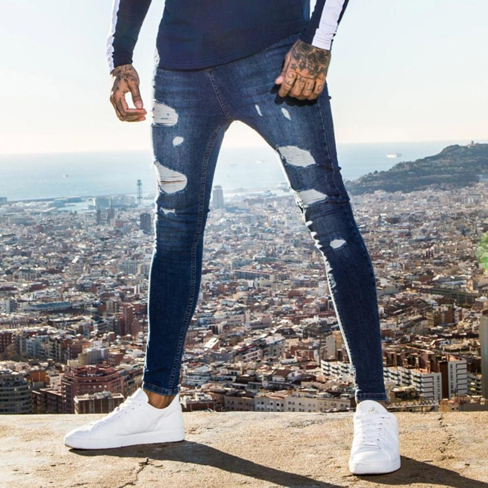 Skinny Jeans Men's Clothing Slim-Fit Stretch Ripped Hip-Hop Blue Fashion Super title=