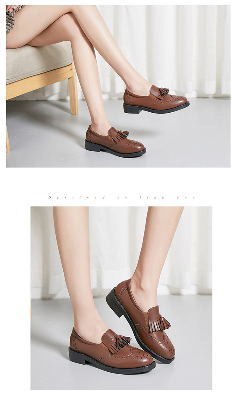 New British Carved Oxford Shoes For Woman Korean College Slip On Student Flats Brogues Shoes Retro Tassel Casual Women's Loafers (30)
