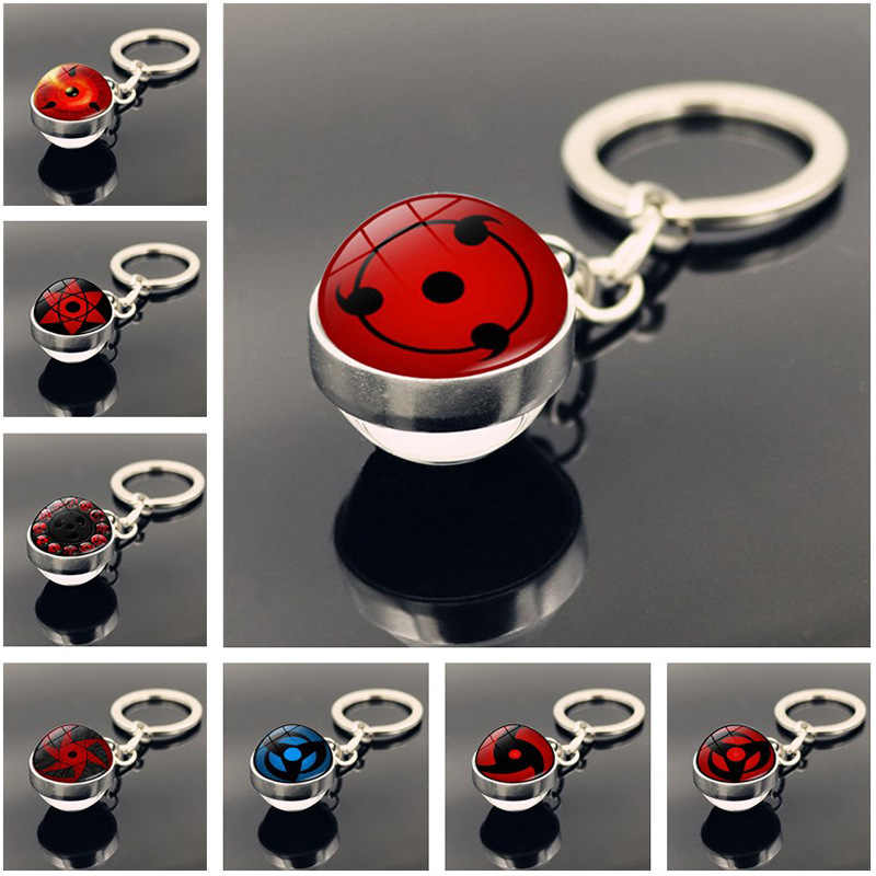 12Styles Naruto Rinnegan Eyes Glass Ball Keychain Uchiha Clan Sharingan Anime Naruto Car Key Chain Ring Itachi Sasuke Kakashi