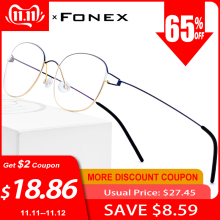 FONEX Prescription Eyeglasses Screwless-Eyewear Myopia Denmark 98618 Titanium-Alloy Korean