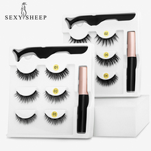 Magnetic Eyelashes Liquid Makeup Mink 3D SEXYSHEEP Long-Lasting Waterproof