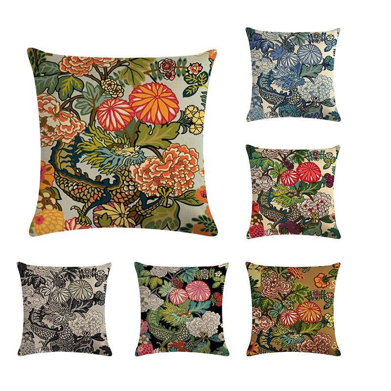 Rahi Dragon Rayquaza Linen Cotton Throw Pillow Case Cushion Cover Home Decor