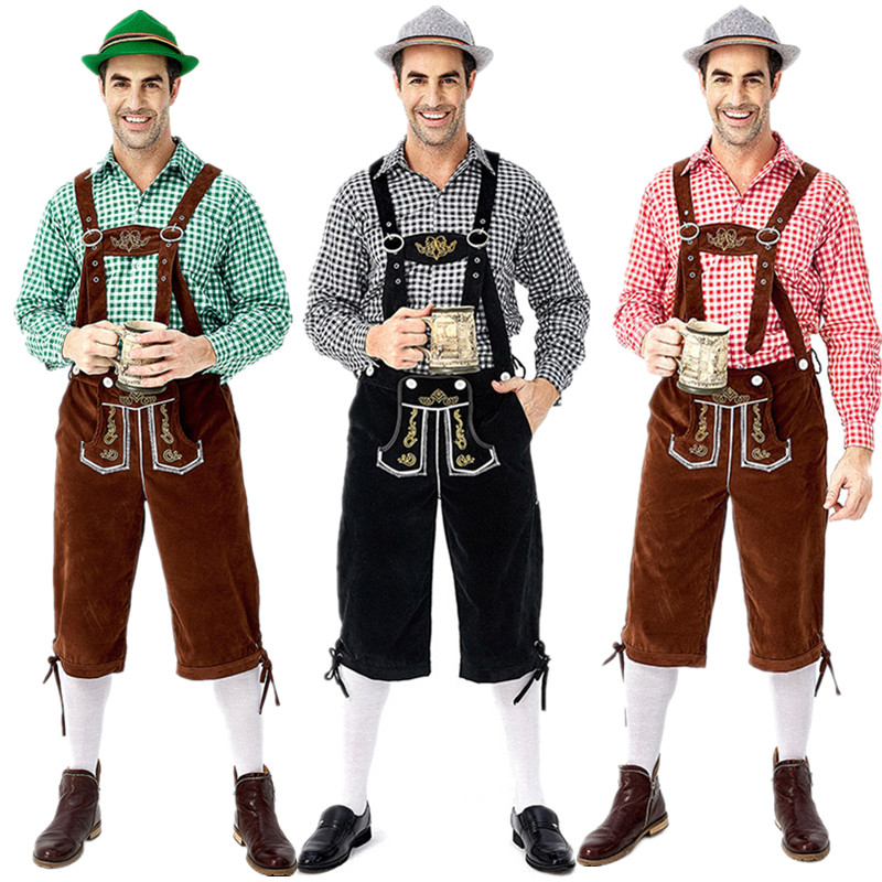 Halloween Cosplay Outfit Costume Shorts Suspenders Bavarian Octoberfest Lederhosen German title=