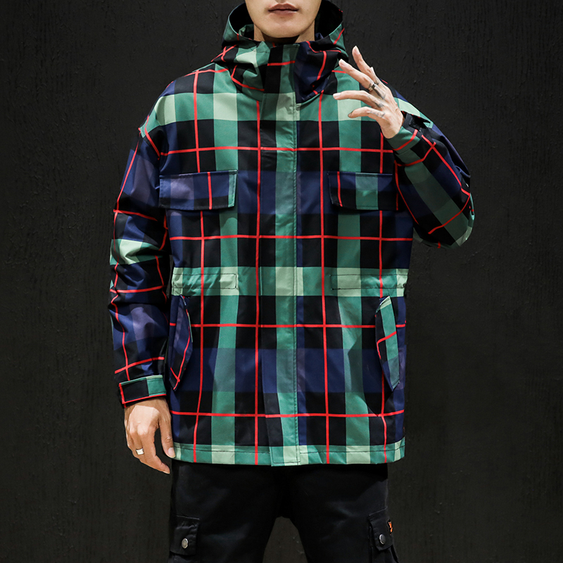 Plaid Jacket Men/'s Fashion Retro Contrast Casual Hooded Jackets Mens Streetwear Wild Loose Hip Hop Bomber Jacket Men M-5XL