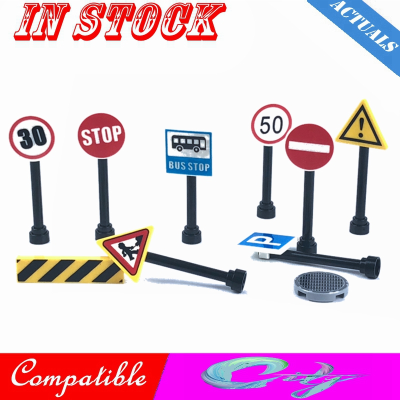 Creator City Street Light Lamp Post Traffic Lights Road Signs Hook Rotatable MOC Accessories Parts Blocks Toys Compatible Cities