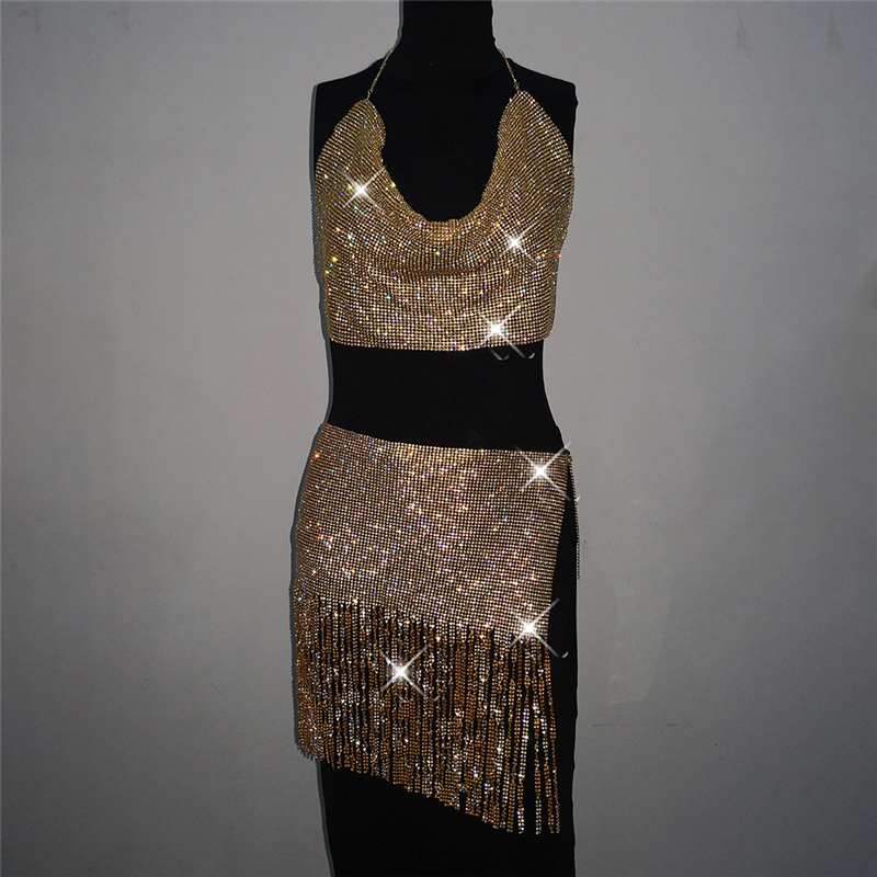 Summer Sparkly Sexy Women Two Piece Set Sleeveless Night Club Party 2 Piece Set Women Crop Top Skirt Rhinestone Two Piece Outfit