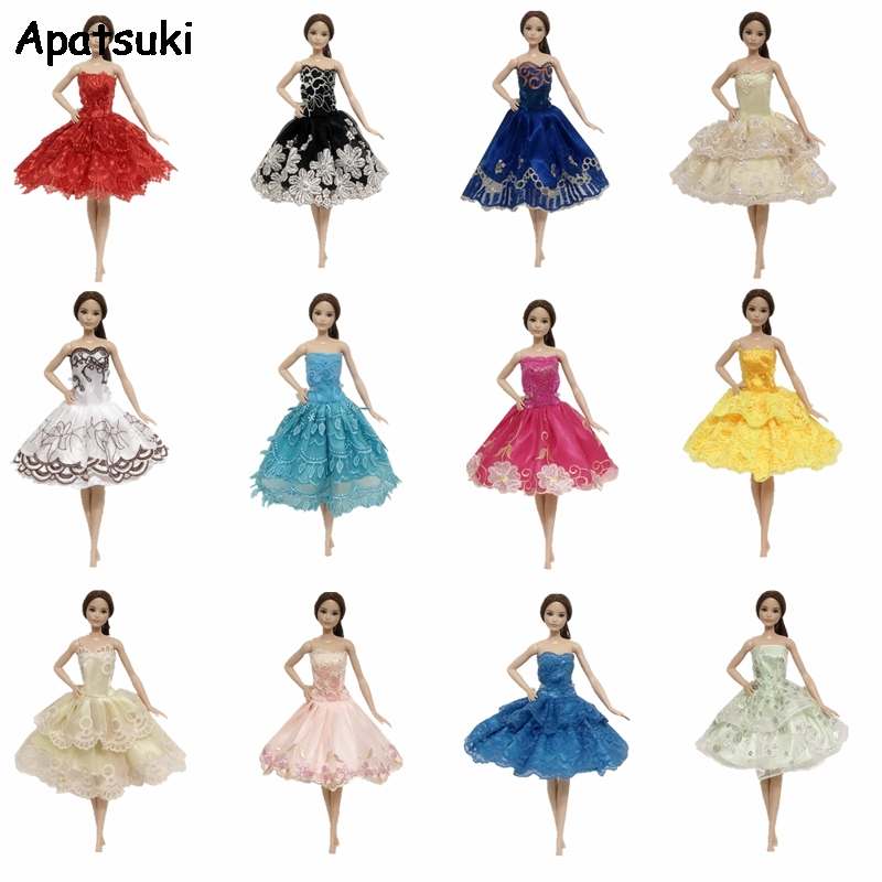 10PCS Handmade Wedding Dress Party Gown Clothes Outfits For Doll Random Gift