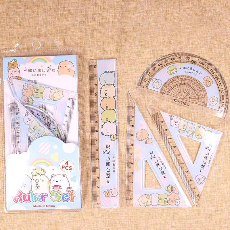 4pcs/set Kawaii Cartoon Straight Triangle Ruler Protractor Drafting Drawing School Office Supplies