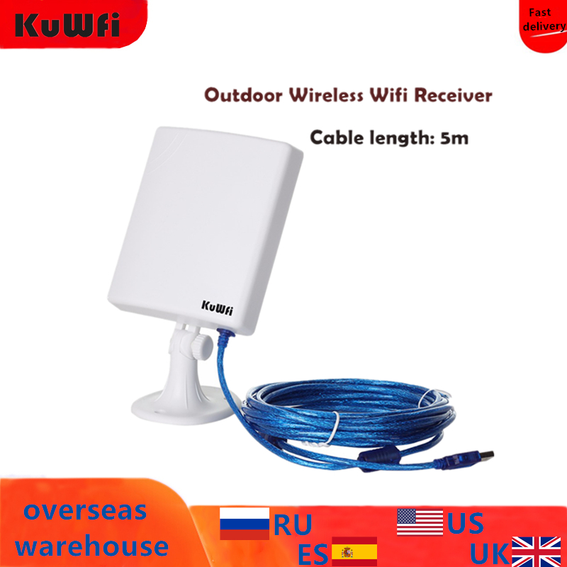 KuWfi 150Mbps Wifi Receiver Soft AP High Gain 14dBi Antenna 5m Cable USB Adapter High Power Outdoor Waterproof Long Range title=