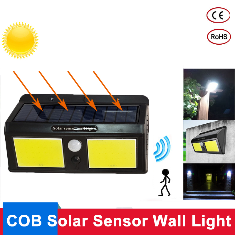 LED Solar Power PIR Motion Sensor Wall Lamp 96 COB Outdoor Waterproof Energy Saving Garden Pathway Street Security Solar Light