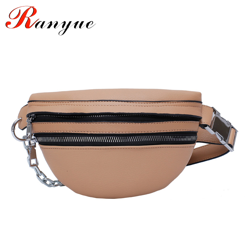 Women Girl PU Leather Waist Bag Chain Fanny Pack Travel Belt Purse Shoulder Bags