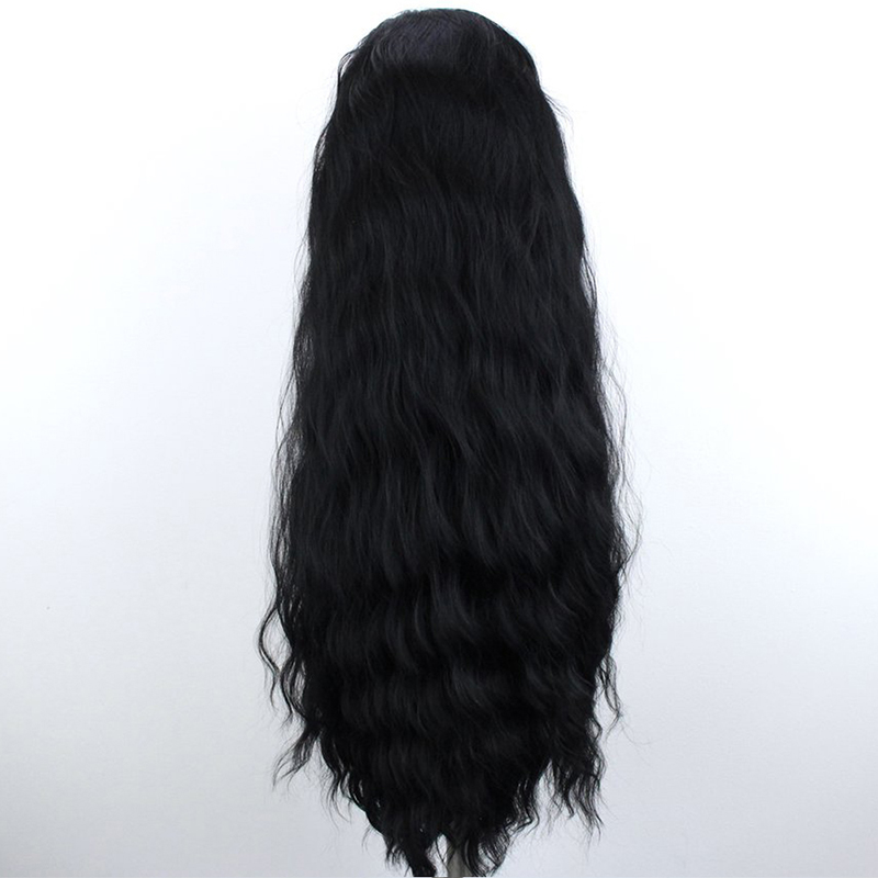 QUINLUX WIGS Black Long Loose Wave Wig Heat Resistant Fiber Hair Synthetic Lace Front Wigs for Women Daily Wear Makeup Wigs